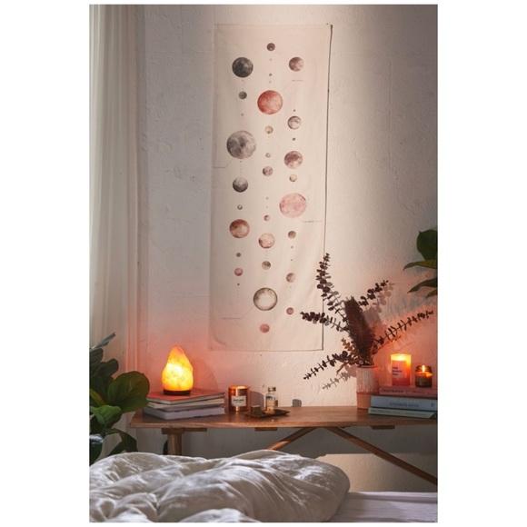 Pink Moon Watercolor Lunar Chart Tapestry Wall Art